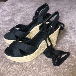 Never used lulus lace up wedged heels